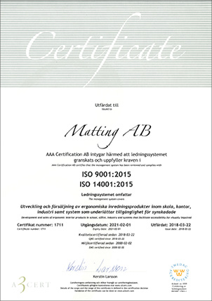 Matting AB Certificate ISO-14001 and 9001