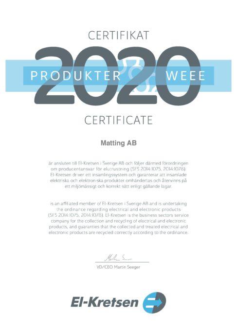 Certifikat Elkretsen Produkter