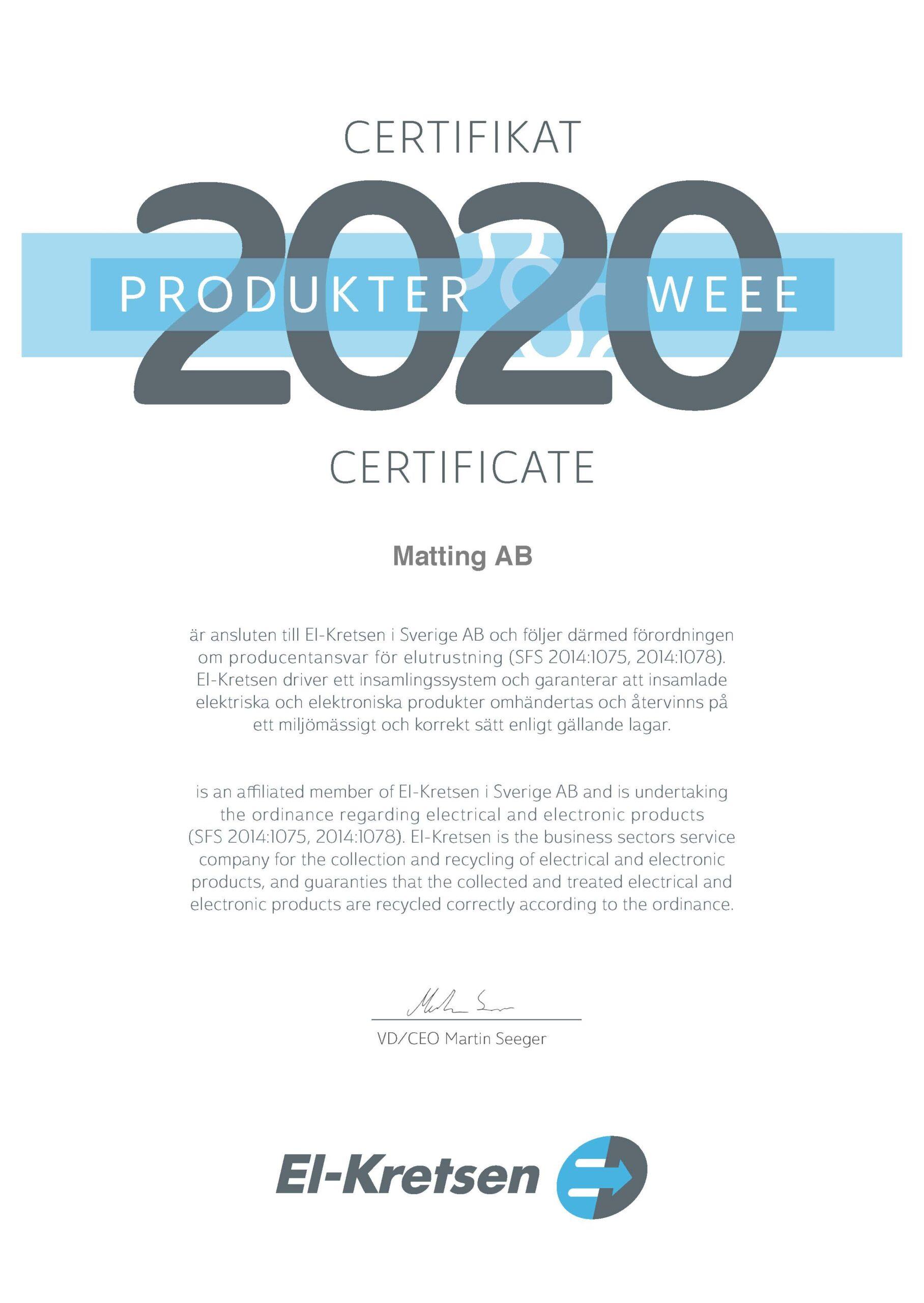 Certifikat produkter