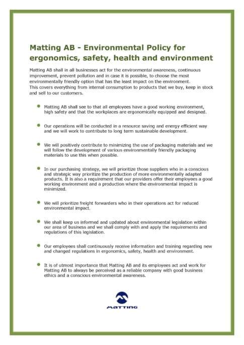 Environmental Policy Matting AB