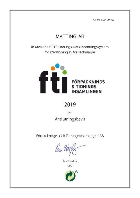 Matting AB - FTI Anslutningsbevis 2019