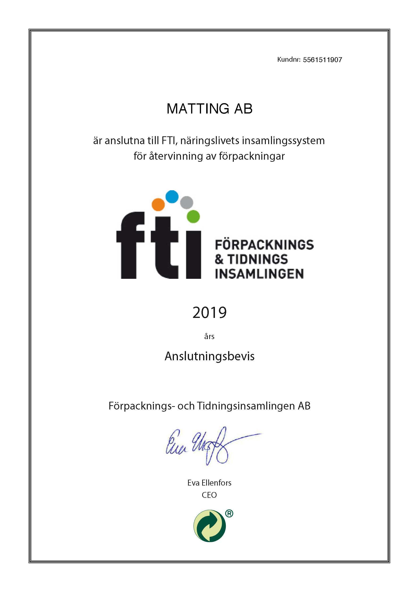 FTI Anslutningsbevis 2019