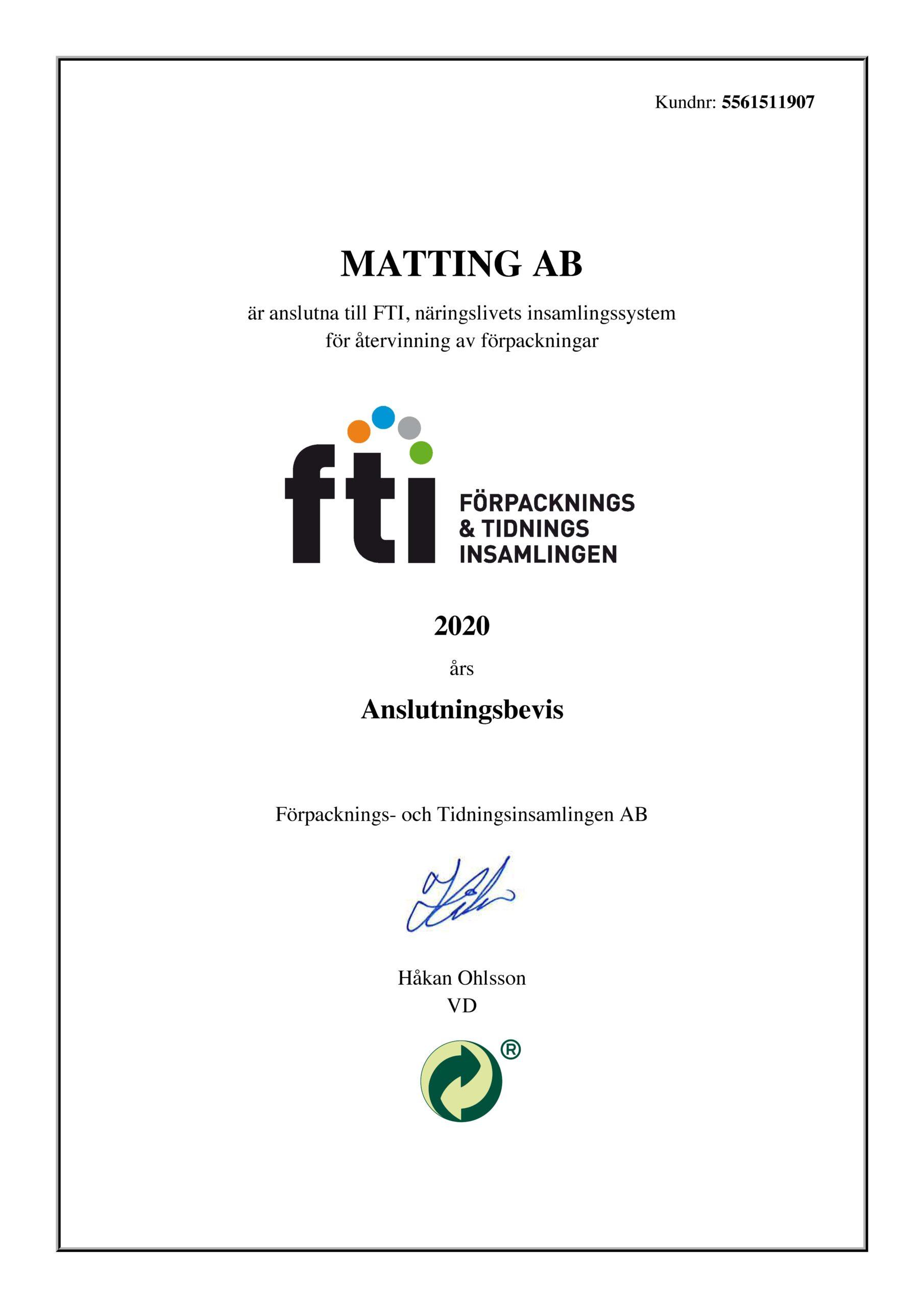 FTI Anslutningsbevis